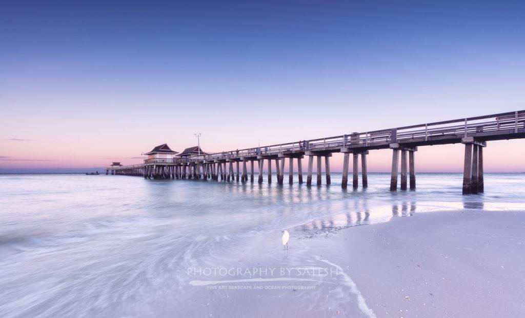 Florida landscape photography sunrise at the Naples Pier with pastel colors