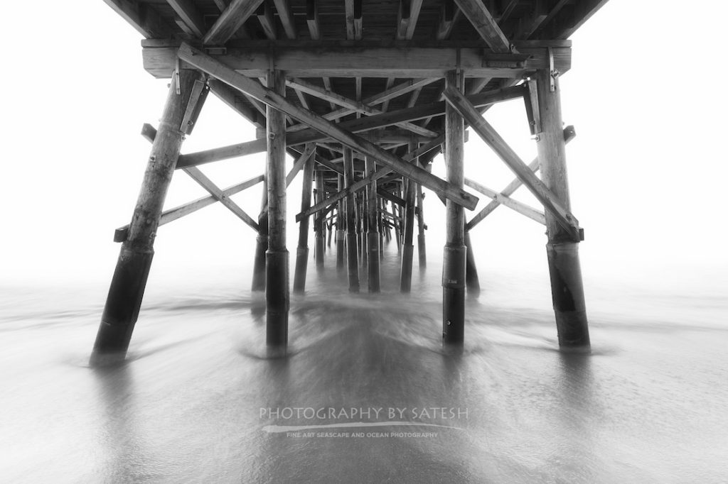Flagler Beach Pier Black and White