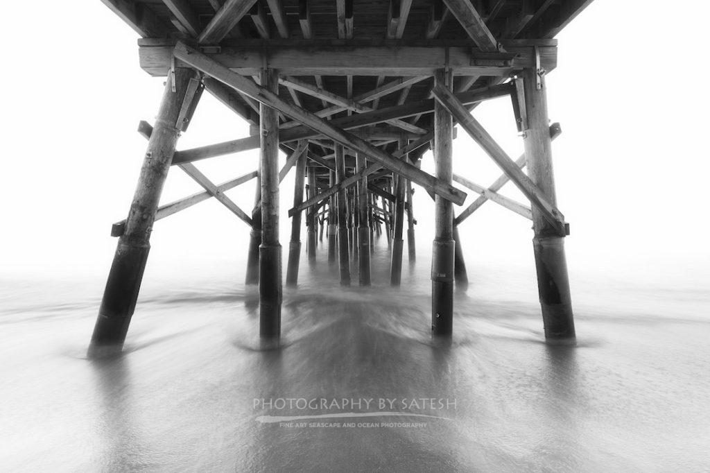 Flagler Beach Pier Black and White