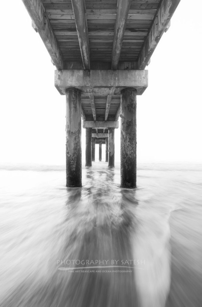 St. Augustine Pier Black and White photograph